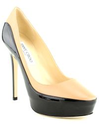 Jimmy Choo - Natural Sepia Patent Leather Trimmed Pumps - Lyst