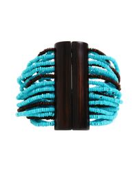 Kenneth Cole - Blue Turquoise and Brown Seed Bead Multi Strand Stretch Bracelet - Lyst
