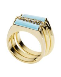Michael Kors | Metallic Gold Tone Reconstituted Turquoise and Crystal Stack Rings | Lyst
