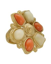 T Tahari - Natural Coral and Sand Stretch Ring - Lyst