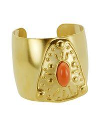 T Tahari   Metallic Gold Tone Coral Resin Cuff Bracelet   Lyst