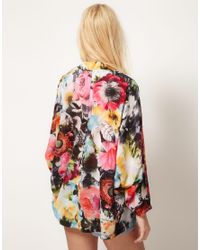 ASOS Collection | Multicolor Asos Kimono in Shadow Floral Print | Lyst