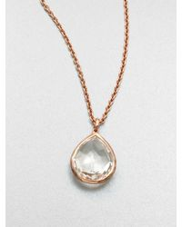 Ippolita | Pink 18k Gold Sterling Silver Clear Quartz Pendant Necklace | Lyst
