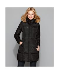MICHAEL Michael Kors | Black Quilted Faux Fur Trim Hooded Down Coat | Lyst