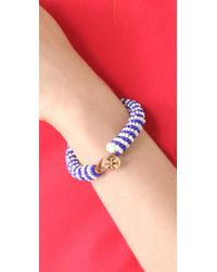 Tory Burch - Blue Dual Color Logo Beaded Bracelet - Lyst