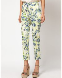 ASOS Collection - Blue Asos Ankle Grazer Trousers in Floral Print - Lyst