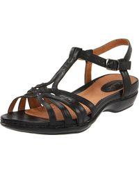 Clarks | Black Sennett Harmony Tstrap Sandal | Lyst