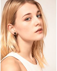 French Connection - Black French Connection Exclusive To Asos Pyramid Stud Earrings - Lyst