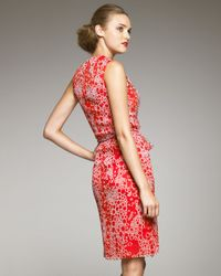 Carolina Herrera - Red Bubble-Print Silk Dress - Lyst