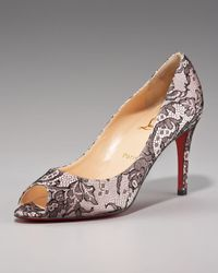 Christian Louboutin - Metallic You You Peeptoe Lace Pump - Lyst