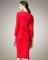 Donna Karan | Red Asymmetric Knit Dress | Lyst