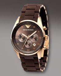 Emporio Armani | Chronograph Sport Watch, Brown for Men | Lyst