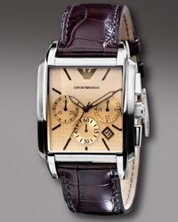 Emporio Armani | Brown Square Chronograph Watch, Chocolate for Men | Lyst
