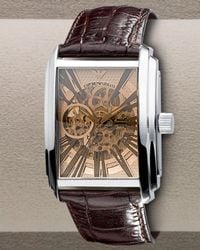 Emporio Armani | Automatic Skeleton Leather Watch, Brown for Men | Lyst
