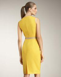 Fendi - Yellow Invert-pleated Sheath Dress - Lyst