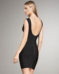 Hervé Léger - Black V-neck Bandage Dress - Lyst