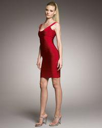Hervé Léger   Red Scoop-neck Bandage Dress   Lyst