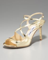 Jimmy Choo | Paxton Strappy Metallic Sandal, Gold | Lyst