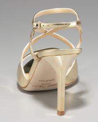 Jimmy Choo | Paxton Strappy Metallic Sandal, Gold | Lyst