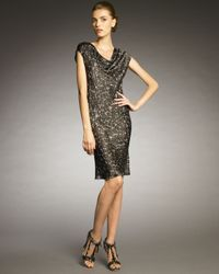 Lanvin | Metallic Sequin-print Cowl-neck Dress | Lyst