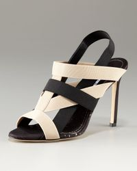 Manolo Blahnik | Black Orina Cork-bottom Sandal | Lyst