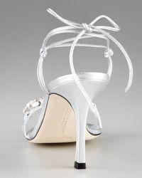 Manolo Blahnik - Metallic Prisca Crystal Tie-back Sandal - Lyst