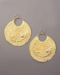 Devon Leigh - Metallic Embossed Gold Earrings - Lyst
