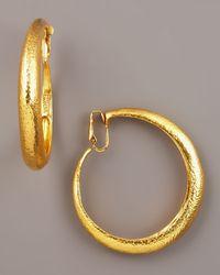 Jose & Maria Barrera   Metallic Hammered Golden Clip-on Hoops   Lyst