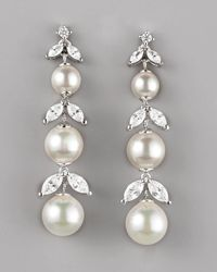 Majorica - Metallic Pearl Cubic Zirconia Drop Earrings - Lyst