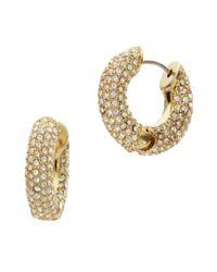 Michael Kors | Metallic Pave Huggie Hoop Earrings, Golden | Lyst