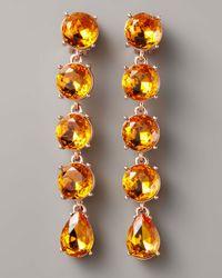 Oscar de la Renta - Orange Crystal Drop Clip Earrings - Lyst