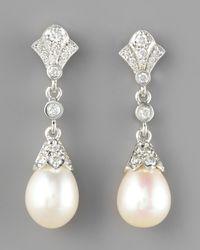 Penny Preville | White Diamond Pearl Drop Earrings | Lyst