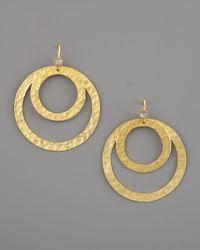 Stephanie Anne - Metallic Hammered Round Paris Earrings - Lyst