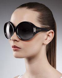 Tom Ford | Black Ali Oversized Round Sunglasses | Lyst