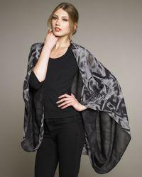 Alexander McQueen | Black Printed Georgette Cape | Lyst