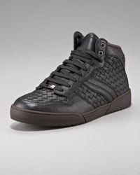 Bottega Veneta   Black Woven Hi-top Sneaker for Men   Lyst