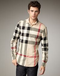 Burberry Brit | Natural Quad-check Woven Shirt for Men | Lyst