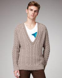 Burberry Prorsum - Natural V-neck Aran Sweater for Men - Lyst