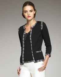 Carolina Herrera | Black Tweed-trim Cardigan | Lyst