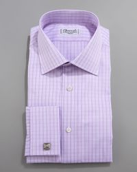 Charvet | Purple Check French-cuff Dress Shirt for Men | Lyst