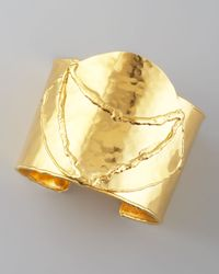 Devon Leigh - Metallic Arced Cuff, Gold - Lyst