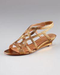 Elie Tahari - Metallic Strappy Low-wedge Sandal - Lyst