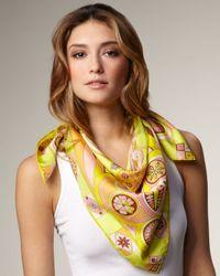 Emilio Pucci | Multicolor Farfalla Silk Scarf, Lemon | Lyst