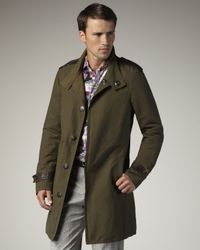 Etro | Green Single-breasted Cotton Trenchcoat for Men | Lyst