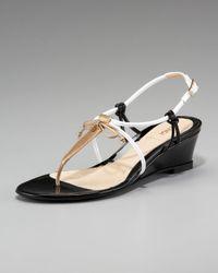 Fendi   Natural Bow Wedge Thong Sandal   Lyst