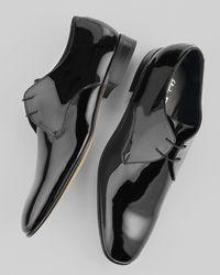 Ferragamo Black Andrea Patent Lace-ups for men