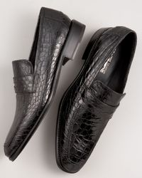 Ferragamo | Black Pireneo Croc Moccasin for Men | Lyst