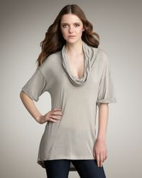 James Perse | Gray Cowl-neck Tee | Lyst