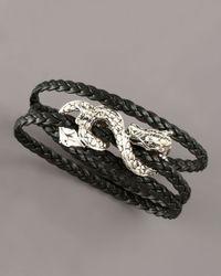 John Hardy | Triple-wrap Leather Naga Bracelet, Black | Lyst