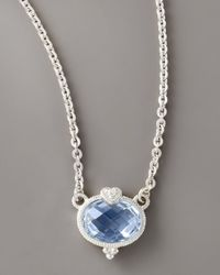 Judith Ripka | Blue Heart & Quartz Pendant Necklace | Lyst